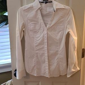 Express white essential button up